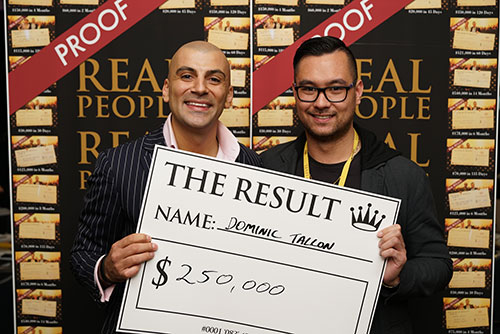 Result: Dominic Tallon $250,000