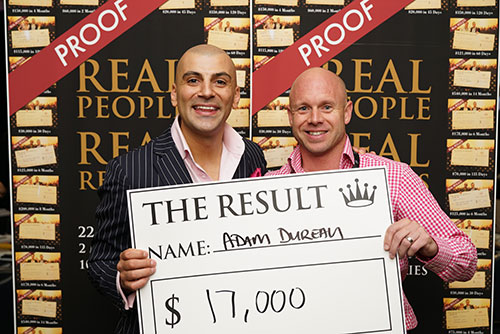 Result: Adam Durean $17,000