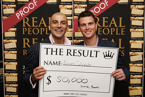 Result: Adrian Calcedo $50,000