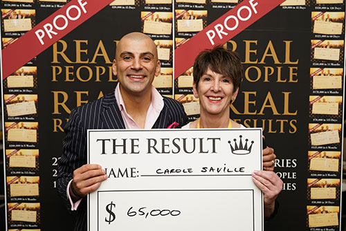 Result: Carole Saville $65,000