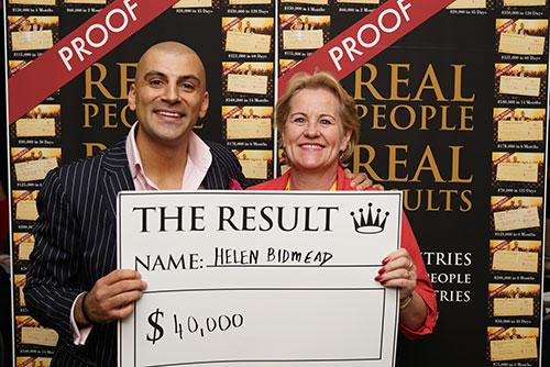 Result: Helen Bidmead $40,000