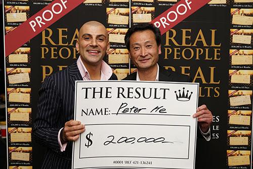 Result: Peter He $200,000