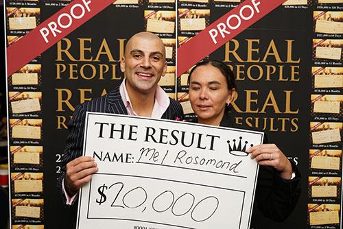 Result: Mel Rosomond $20,000