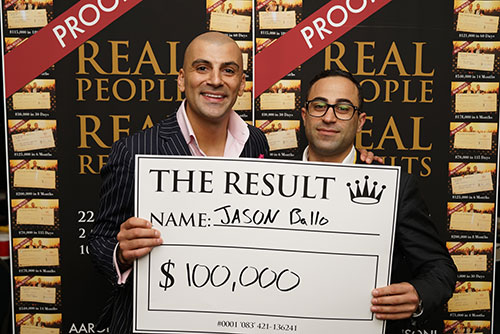 Result: Jason Ballo $100,000
