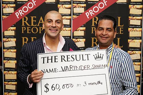 Result: Varinder Sharma $60,000