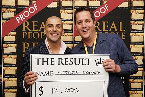 Result: Stephen Hakvey $12,000