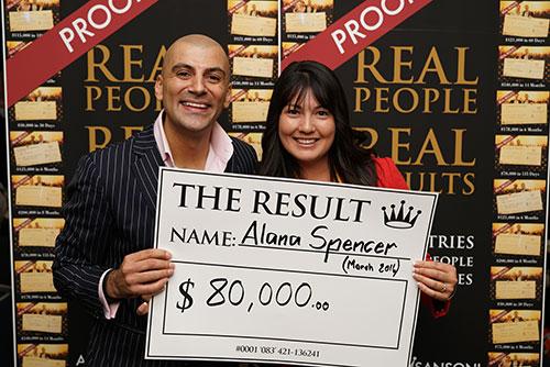 Result: Alana Spencer $80,000