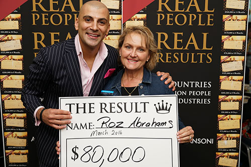 Result: Roz Abrahams $80,000