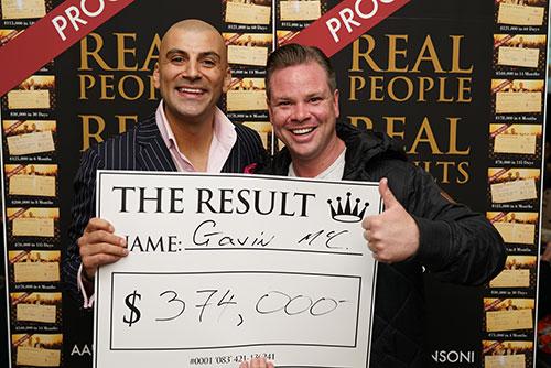 Result: Gavin $374,000