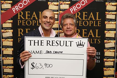 Result: David Christie $63,900