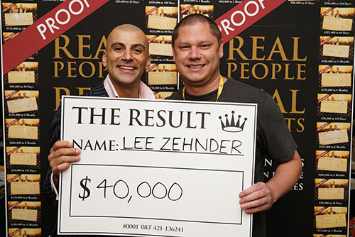 Result: Lee Zehnder $40,000