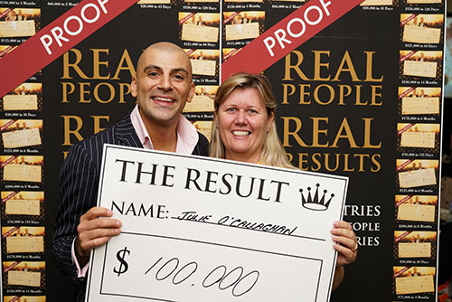 Result: Julie O'callaghan $100,000