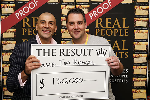 Result: Tim Romeril $130,000