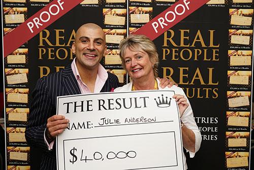 Result: Julie Anderson $40,000