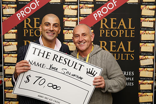 Result: Vince Salvatore $70,000