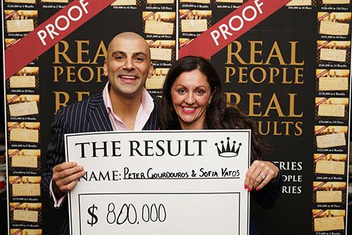 Result: Peter Gourdouros & Sofia Vatos $800,000