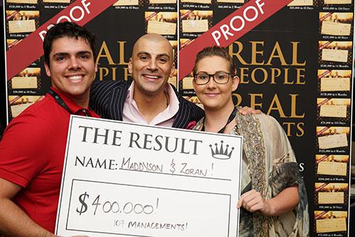 Result: Maddyson & Zoran $400,000