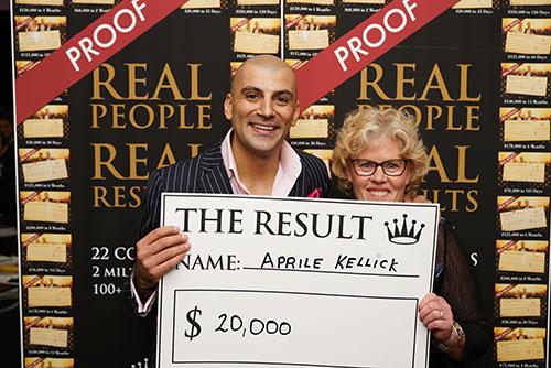 Result: Aprile Kellick $20,000